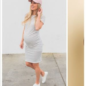 Ivory Grey Stripped Fitted Short Sleeve Maternity